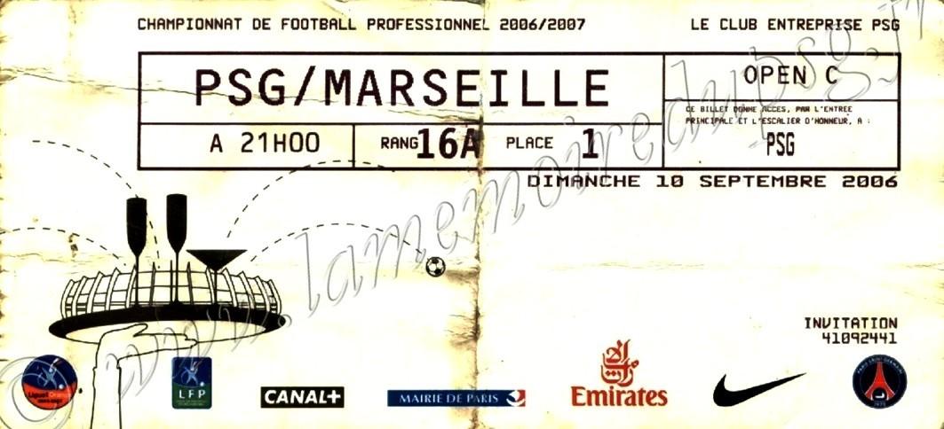 2006-09-10  PSG-Marseille (5ème L1, Club entreprise)