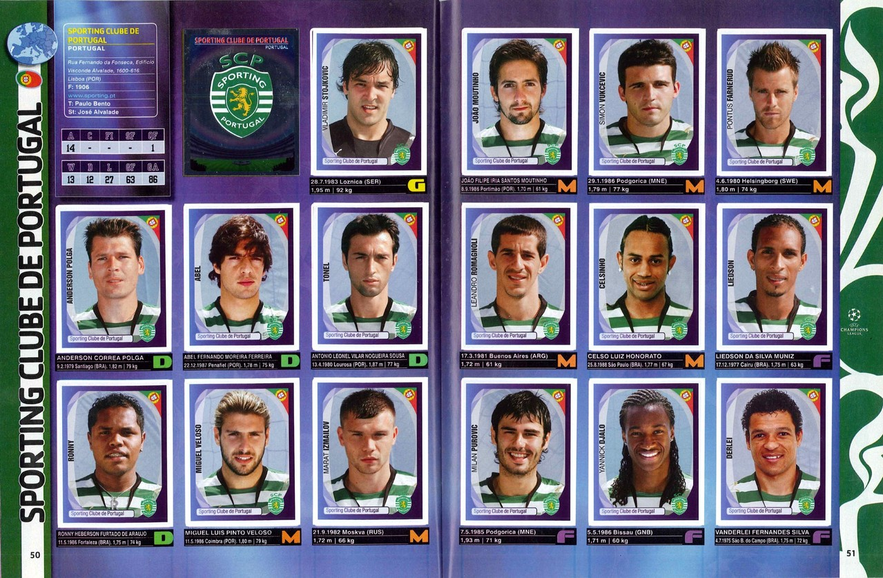 2007-08 - Panini Champions League - Pages 50 et 51 - Sporting Club du Portugal