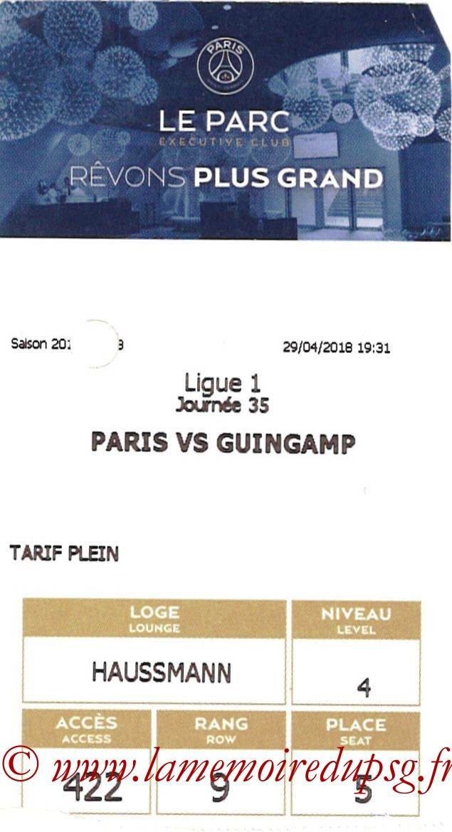 2018-04-29  PSG-Guingamp (35ème L1, E-ticket Executive Club)