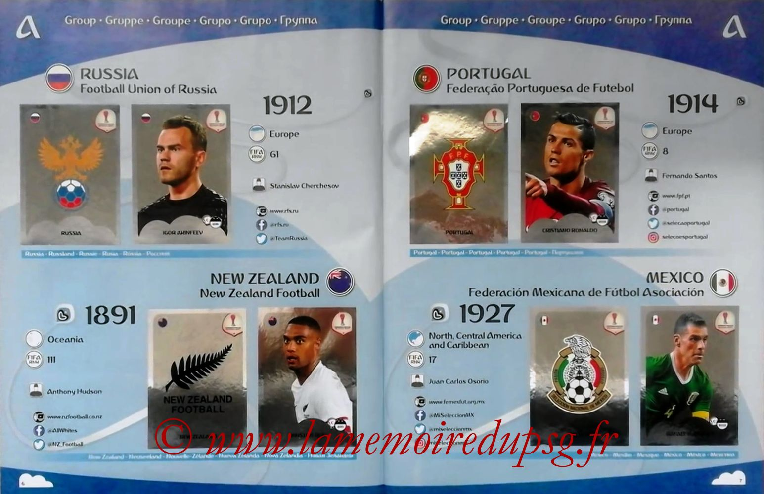 2017 - Panini Confederations Cup Russia Stickers - Pages 06 et 07 - Groupe A