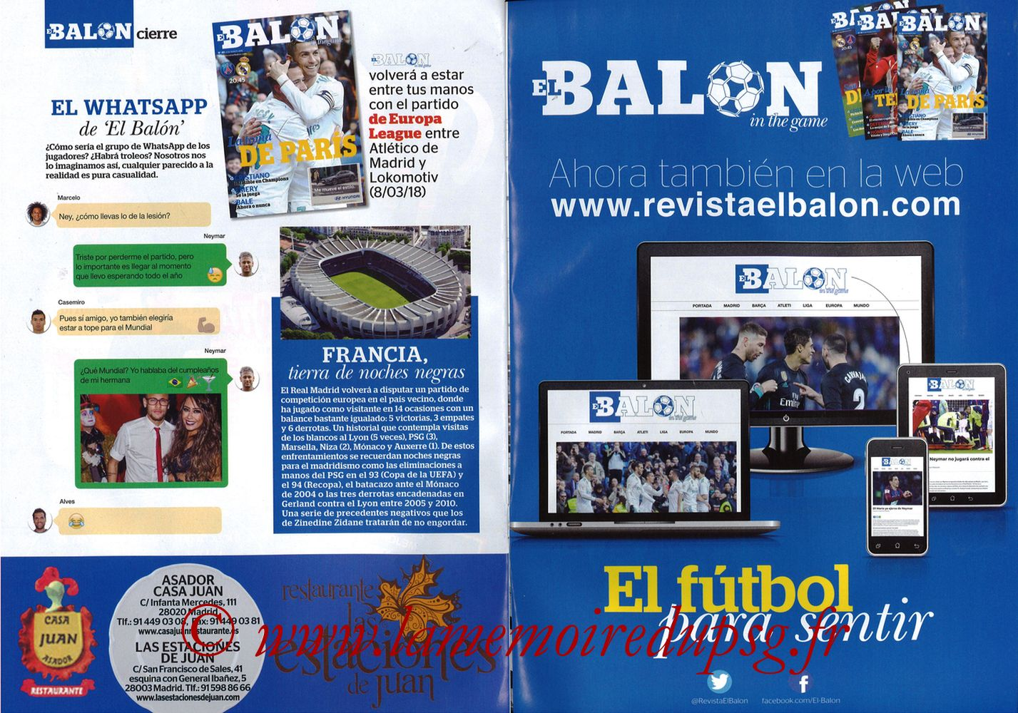 2018-03-06  PSG-Real Madrid (8ème Retourr C1, El Balon in the game N°49) - Pages 30 et 31