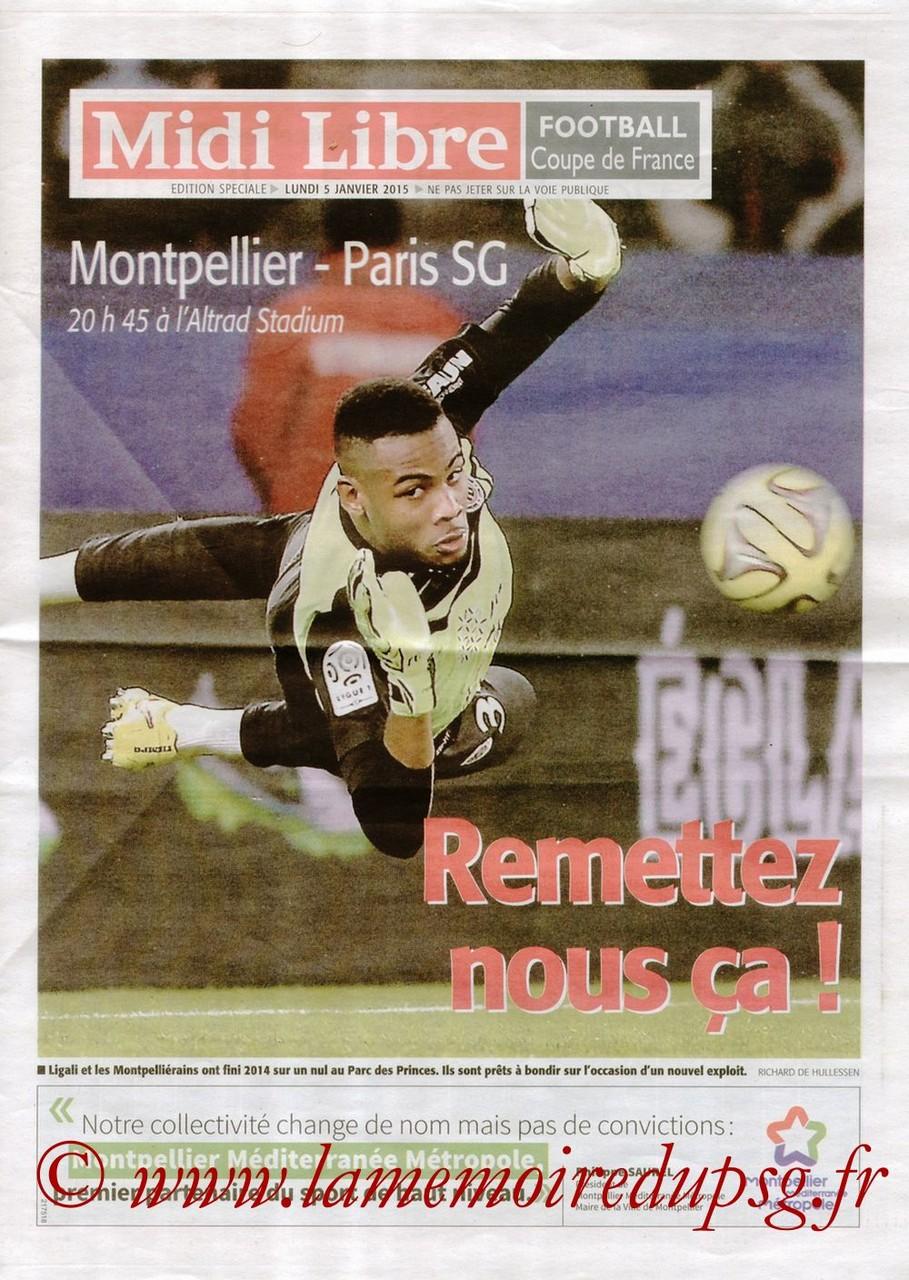 2015-01-05  Montpellier-PSG (32ème CF, Midi libre)