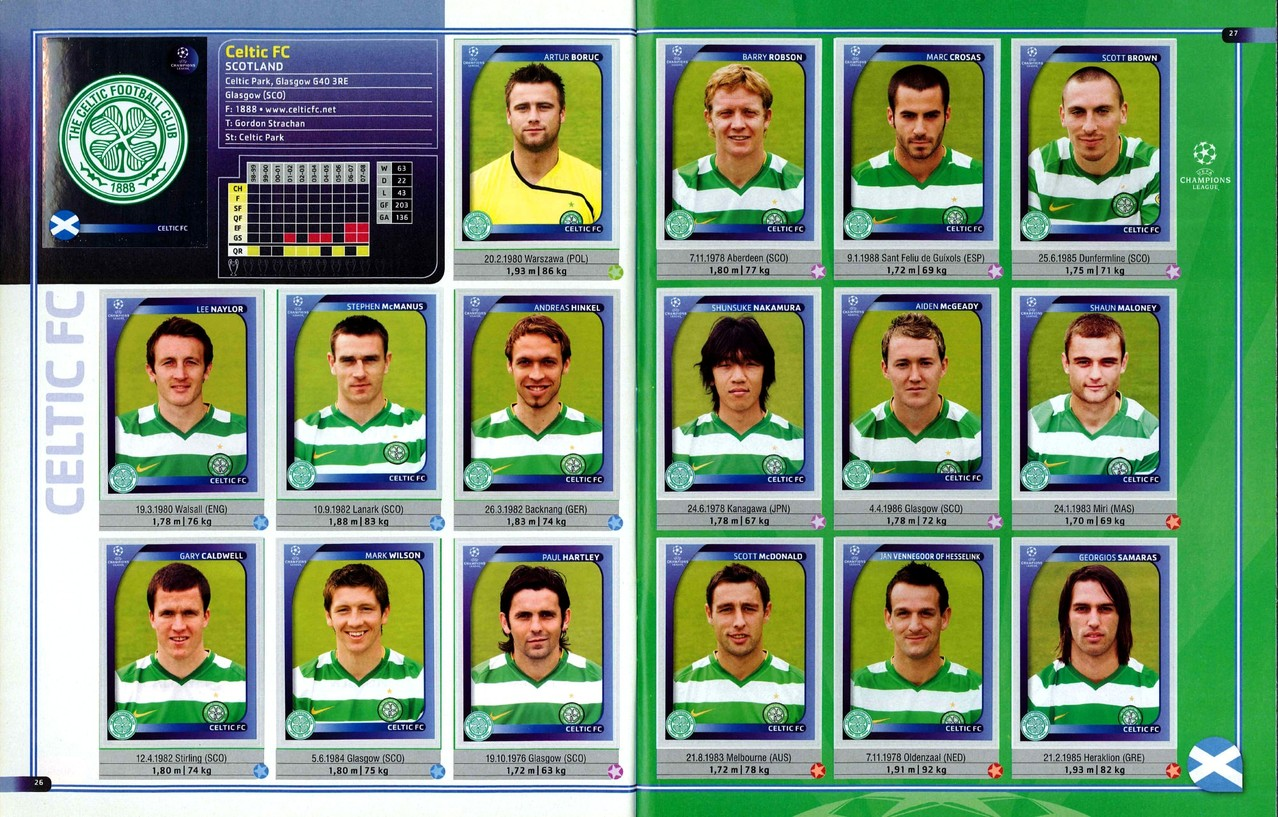 2008-09 - Panini Champions League - Pages 26 et 27 - Celtic FC
