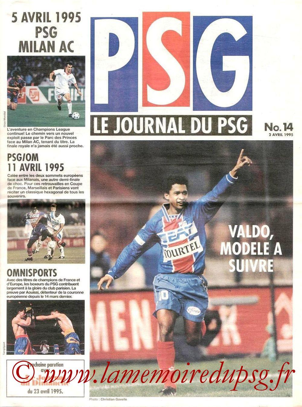 1995-04-08  PSG-Nice (32ème D1, Le journal du PSG N°14)