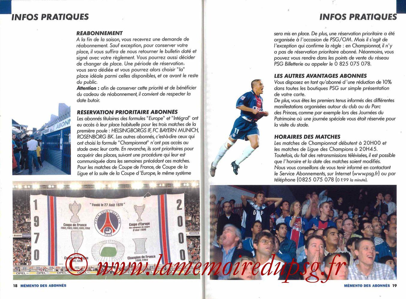 2000-01 - Guide de la Saison PSG - Pages 18 et 19