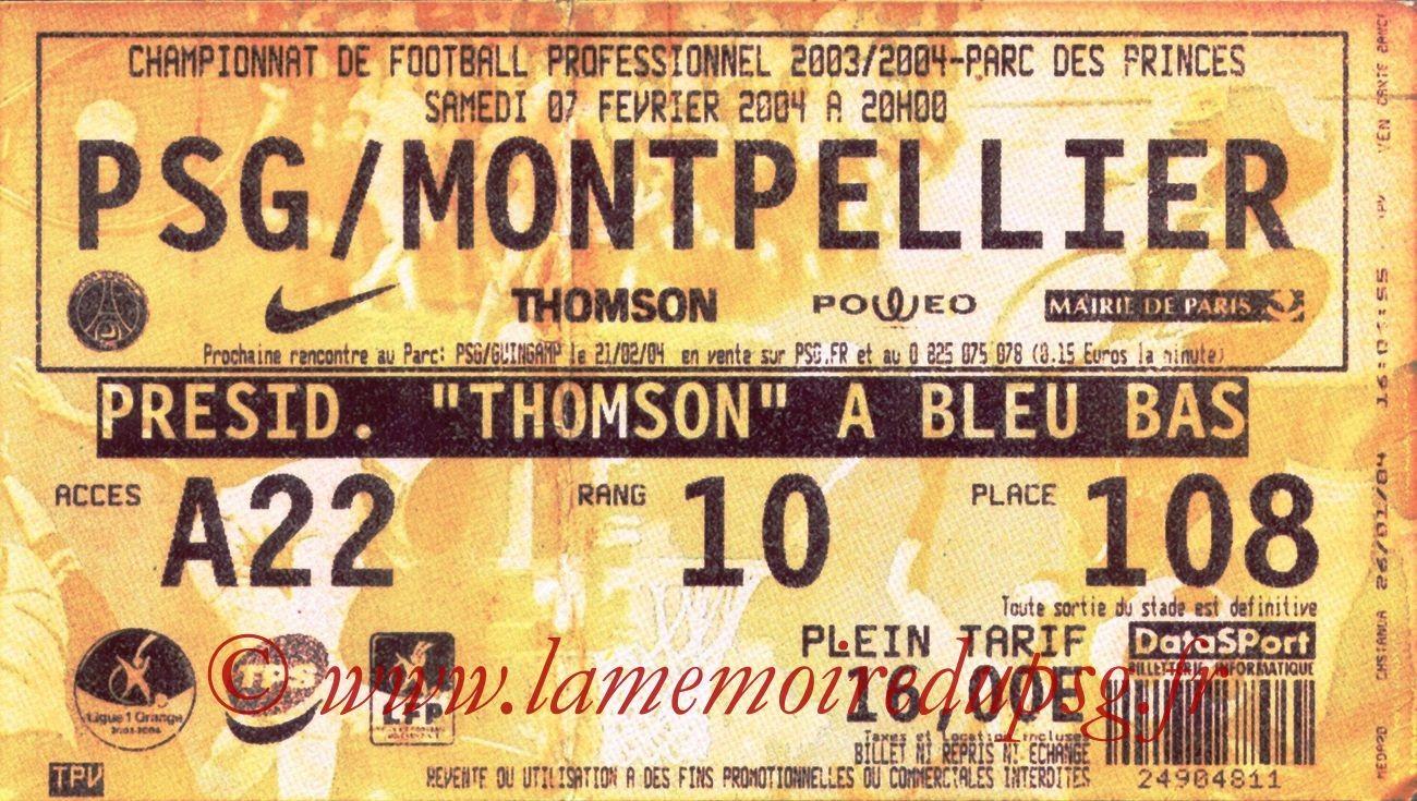 2004-02-07   PSG-Montpellier  (23ème L1, bis)