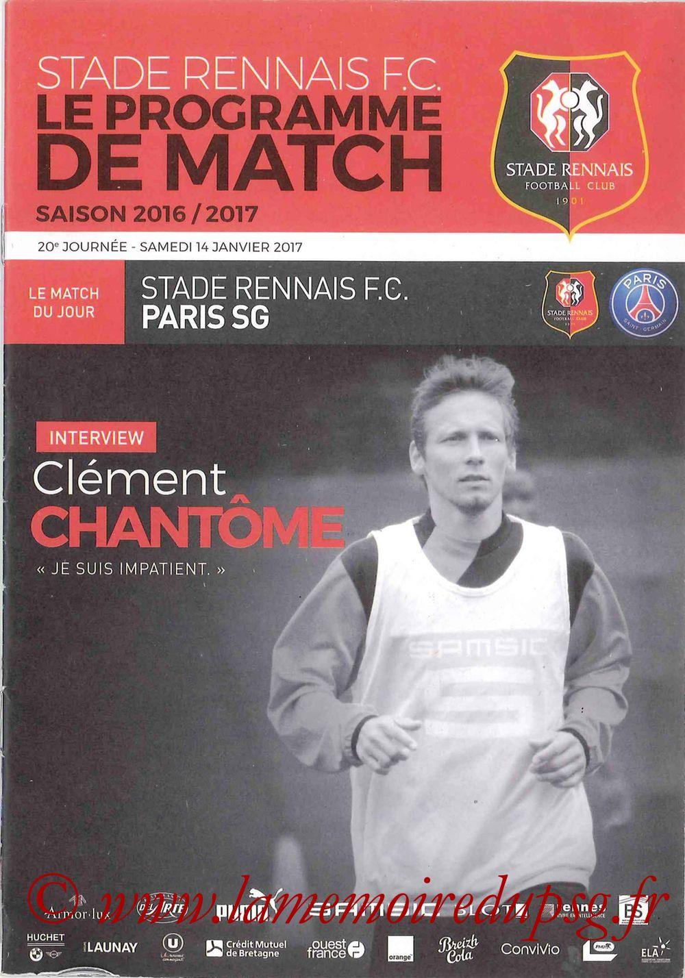 2017-01-14  Rennes-PSG (20ème L1, Le Programme de match)