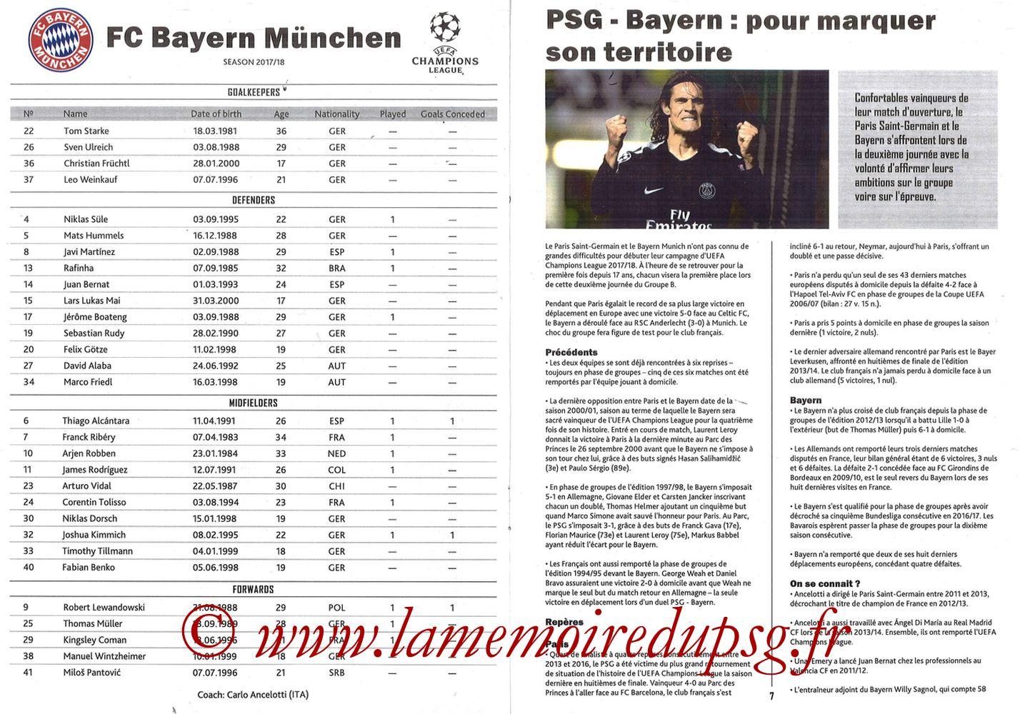2017-09-27  PSG-Bayern Munich (2ème Poule C1, Programme pirate) - Pages 06 et 07