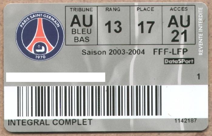 Carte d'abonné PSG 2003-04