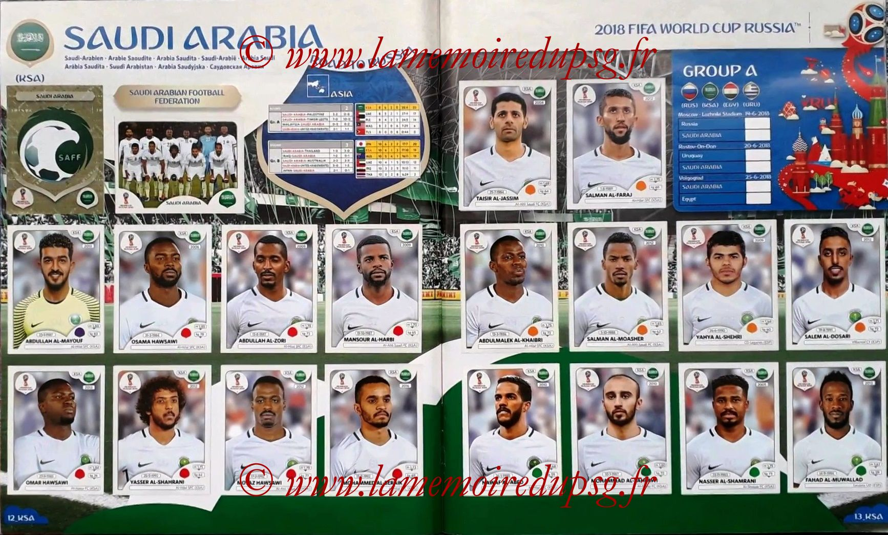 2018 - Panini FIFA World Cup Russia Stickers - Pages 12 et 13 - Arabie Saoudite