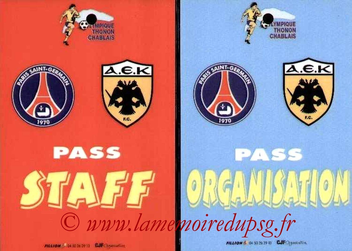 2005-07-20  PSG-AEK Athenes Amical à Thonon les bains, Badges)