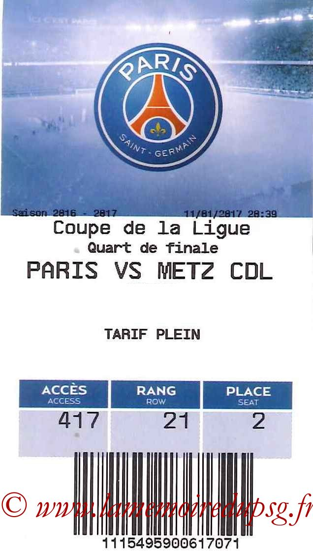 2017-01-11 PSG-Metz (Quart CL, E-ticket)