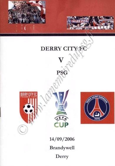 2006-09-14  Derry City-PSG (64ème Aller UEFA, Programme Pirate)