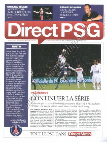 2011-11-20  PSG-Nancy (14ème L1, Direct PSG N°23)