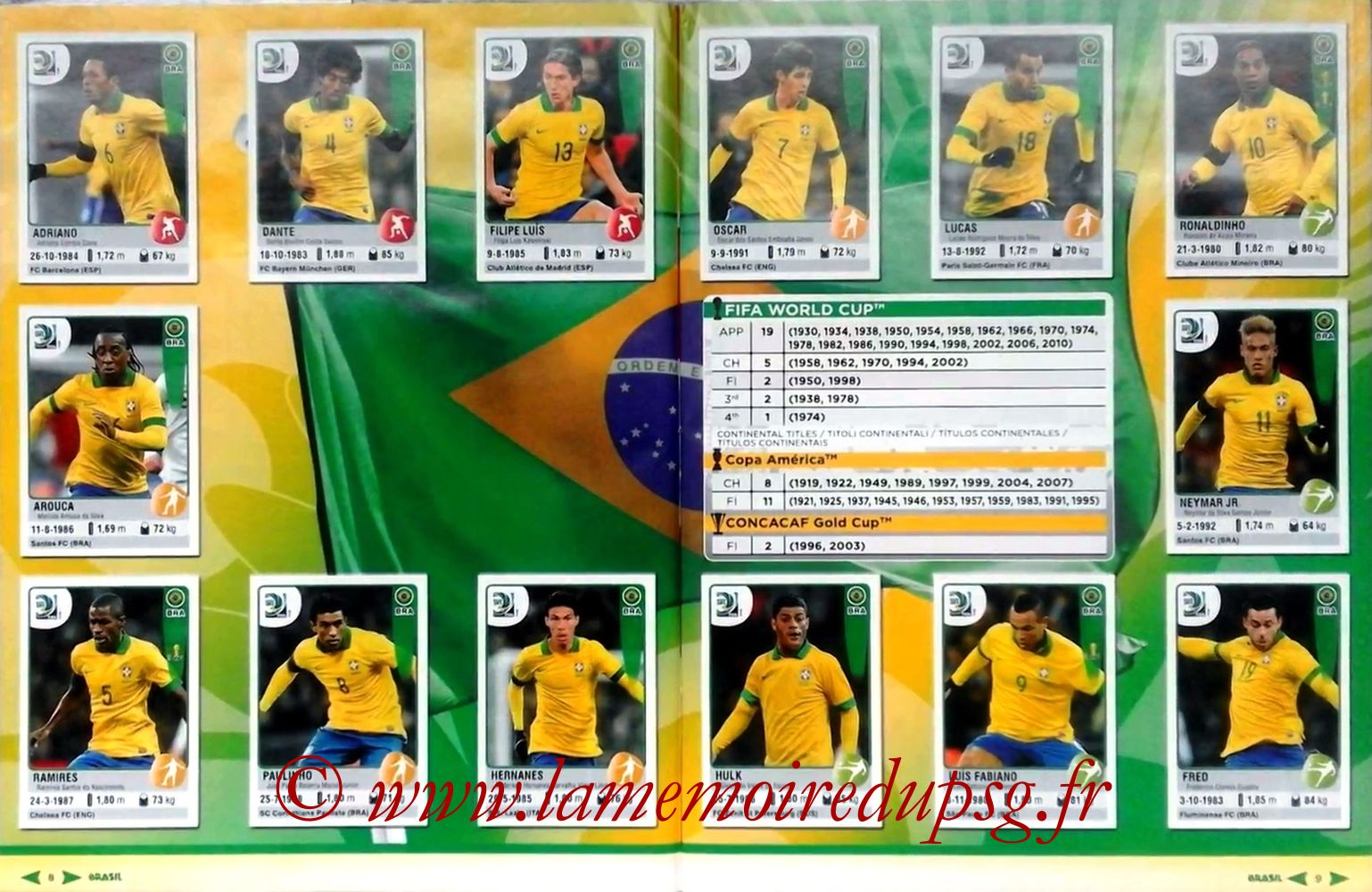 2013 - Panini Confederations Cup Brasil Stickers - Pages 08 et 09 - Brésil