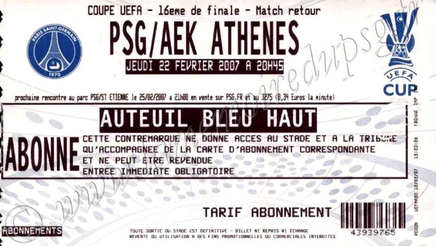 2007-02-22  PSG-AEK Athènes  (16ème finale retour C3)
