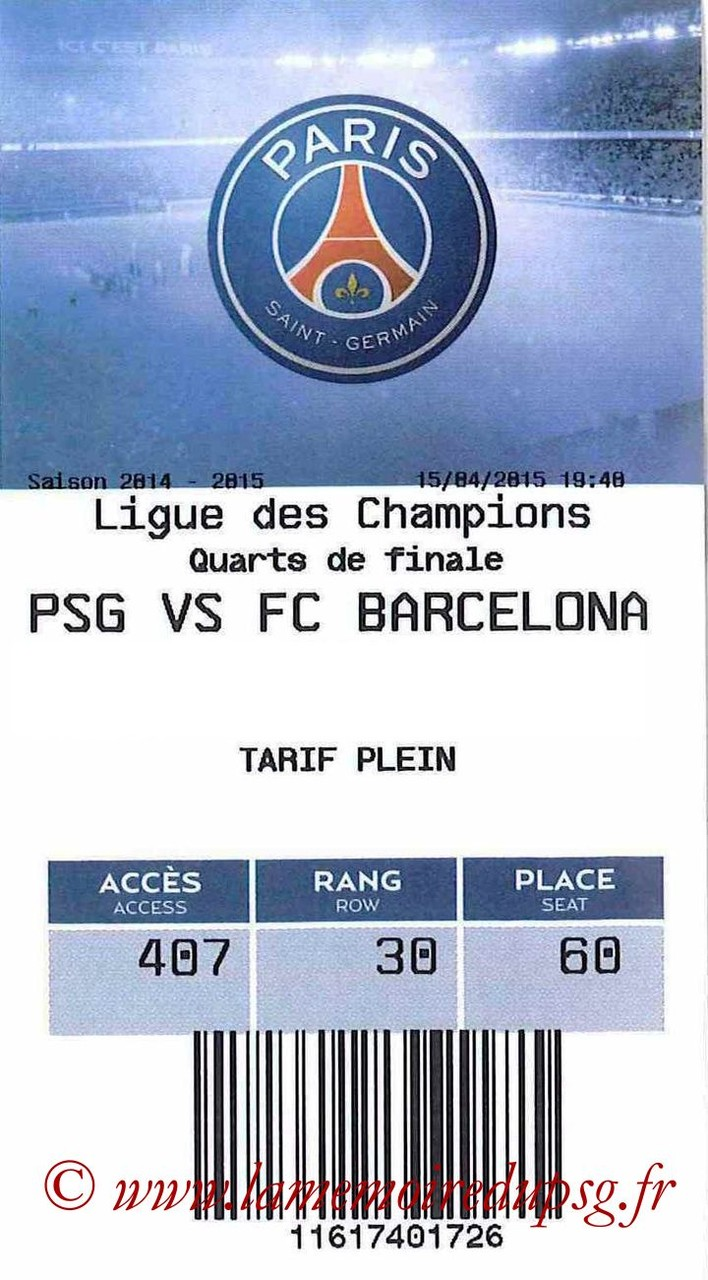 2015-04-15  PSG-Barcelone (Quart C1, E-ticket)
