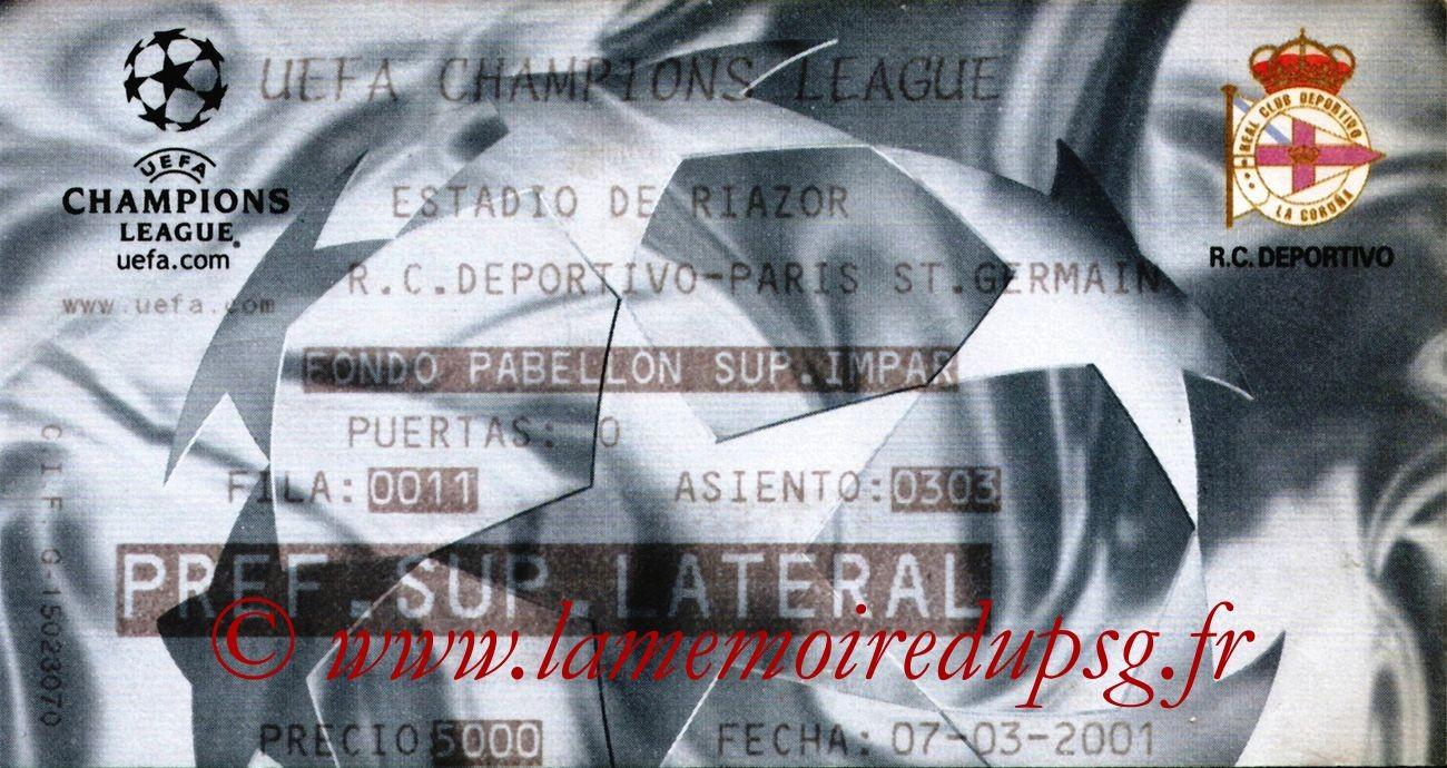 2001-03-07  La Corogne-PSG (2ème Phase C1, 5ème Journée)