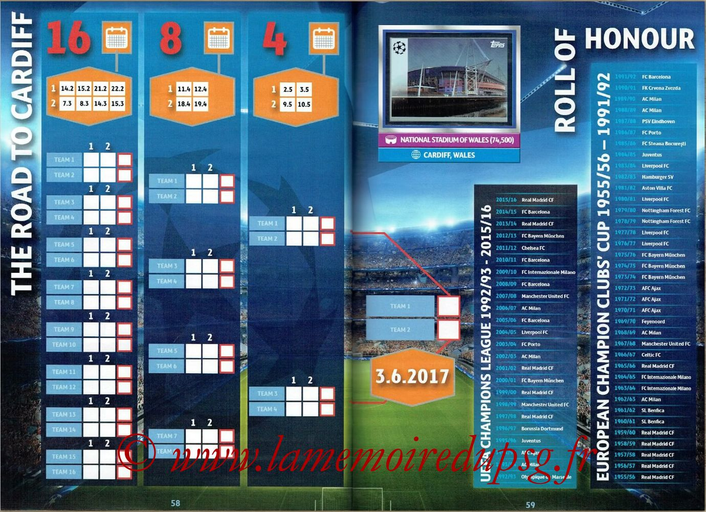 2016-17 - Topps UEFA Champions League Stickers - Pages 58 et 59 - Palmares