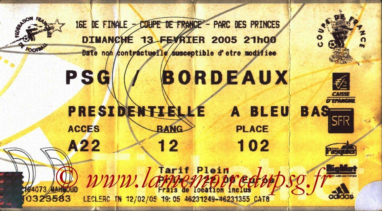 2005-02-13  PSG-Bordeaux (16ème Finale CF, Ticketnet)