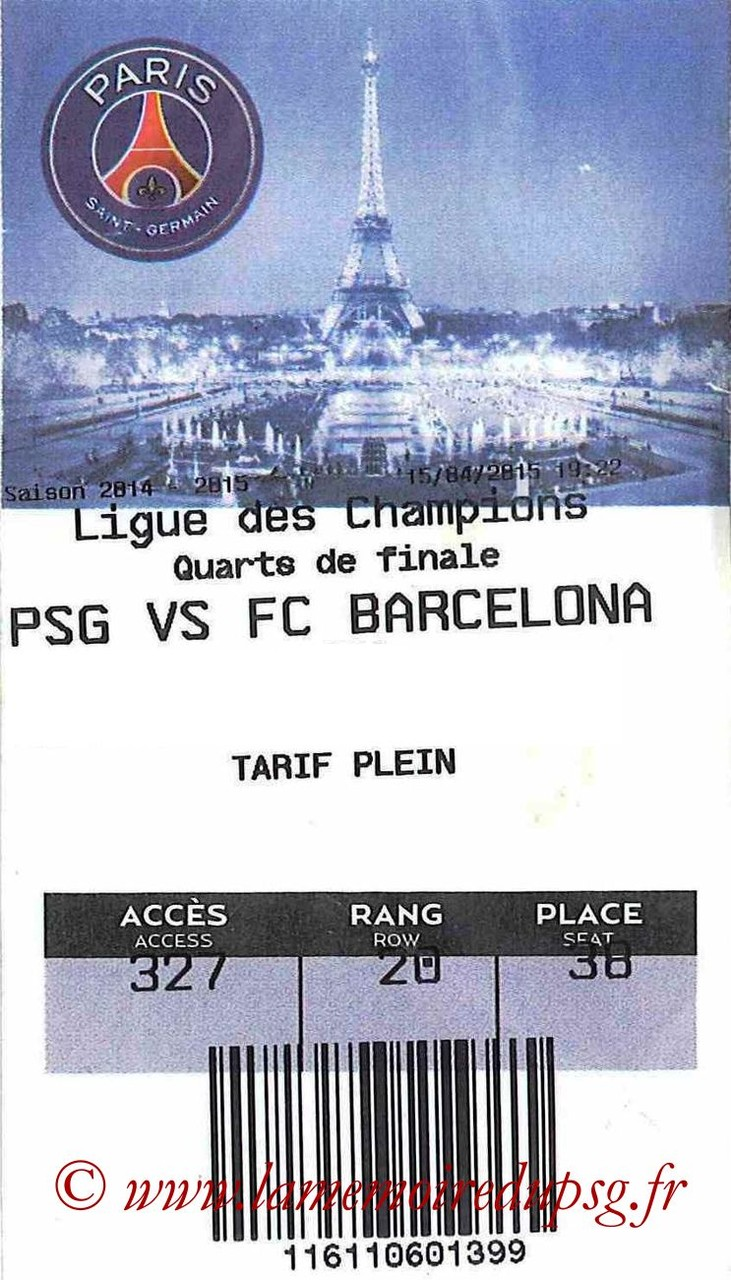 2015-04-15  PSG-Barcelone (Quart C1, E-ticket bis)