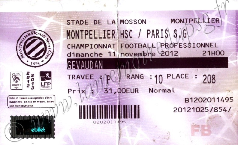 2012-11-11  Montpellier-PSG (12ème L1, Billetel)