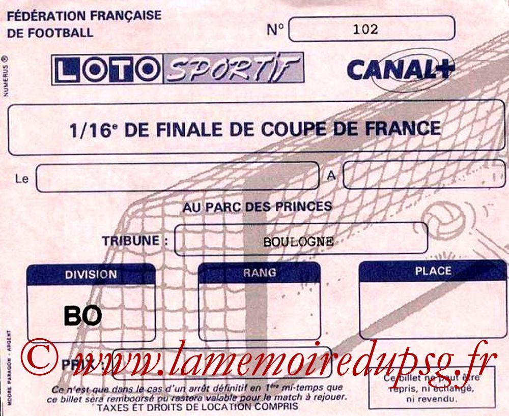 Ticket  PSG-Montluçon  1988-89