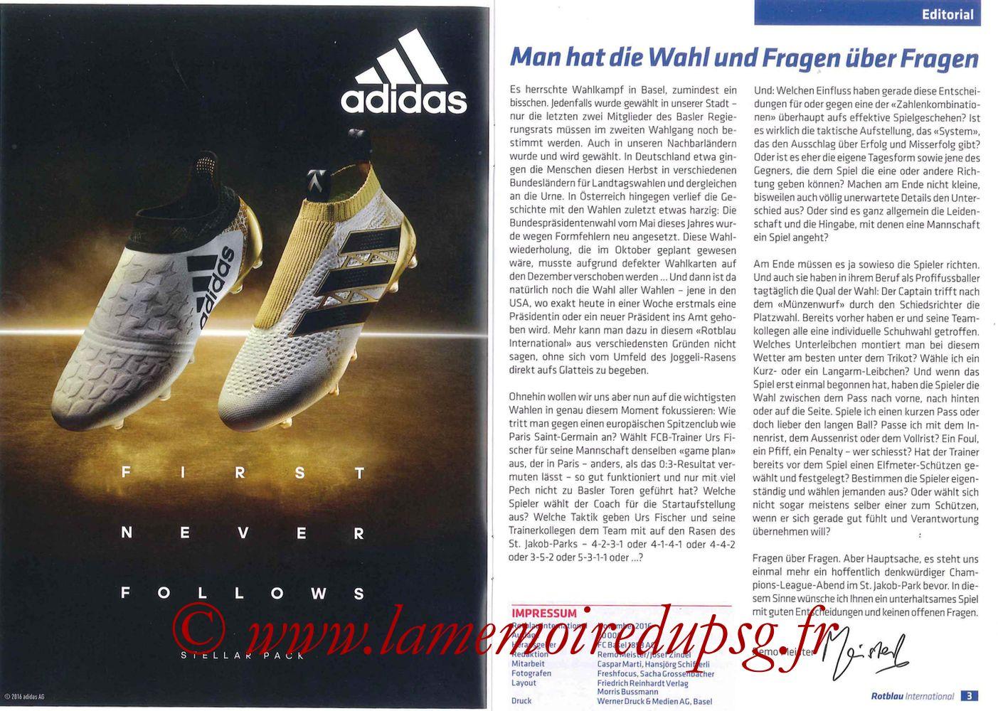 2016-11-01  FC Bale-PSG (4ème C1, Programme officiel) - Pages 02 et 03