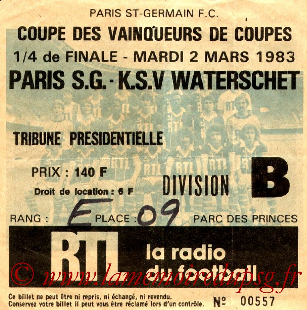 Ticket  PSG-Waterschei  1982-83