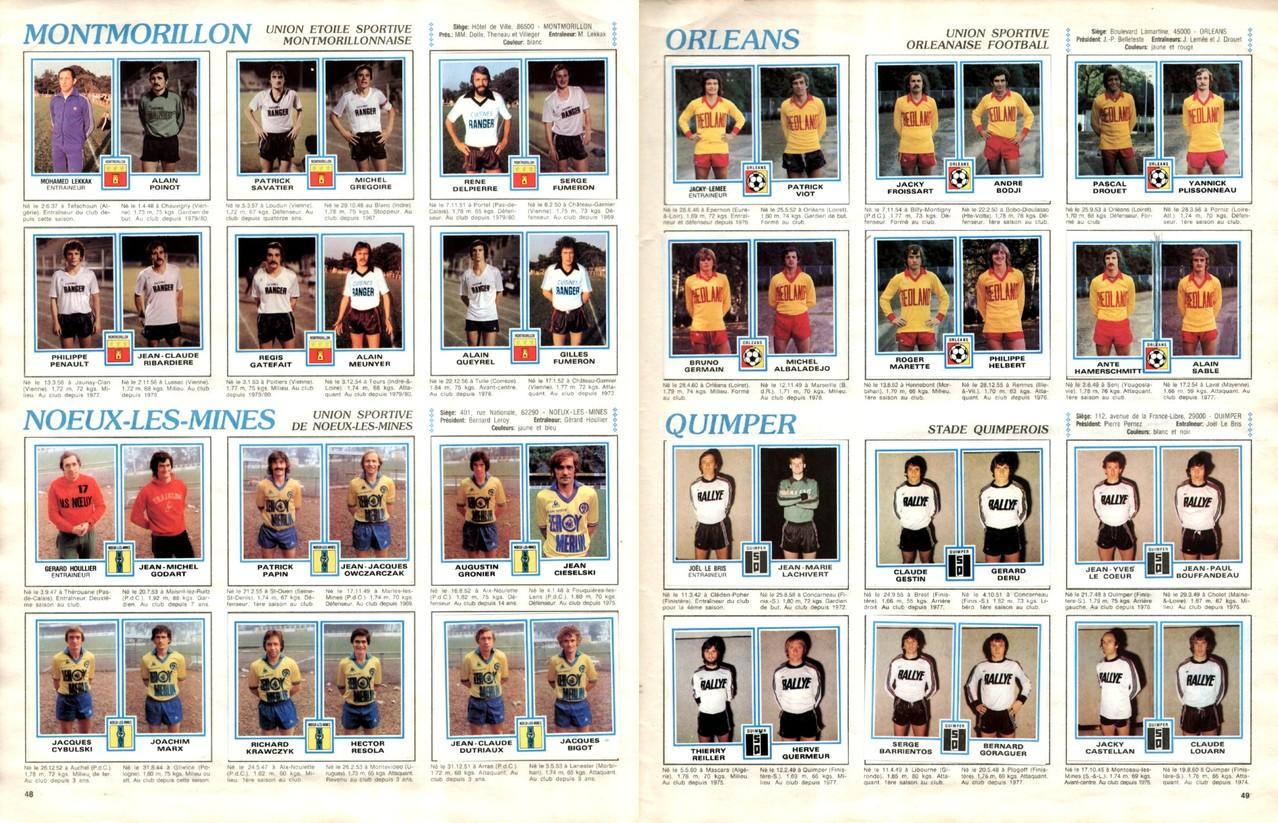 1979-80 - Panini 1980 - Pages 48 et 49 - UES Montmorillon et US Noeux-les-Mines + US Orléans et Stade Quimpérois