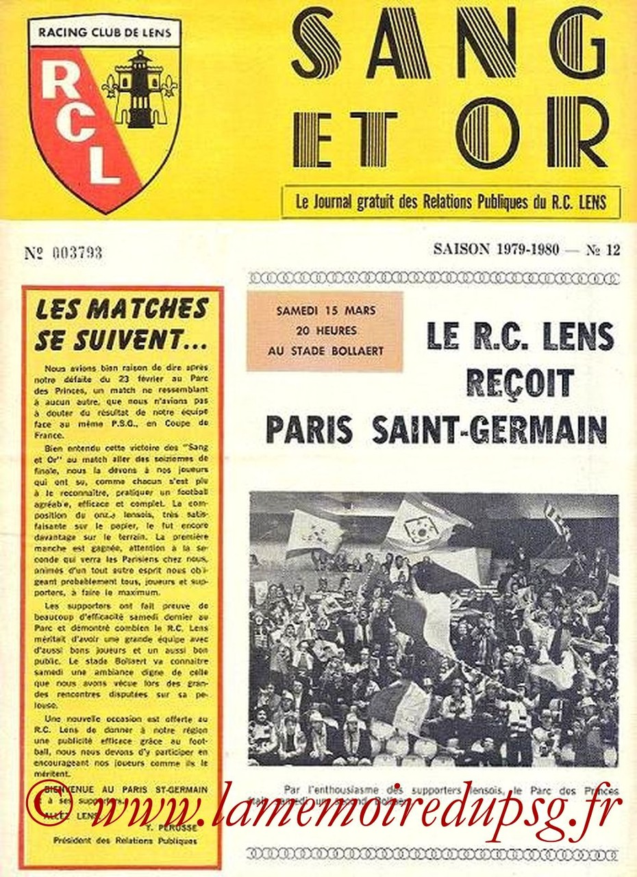 1980-03-15  Lens-PSG (16ème Retour CF, Sang et Or N°12)