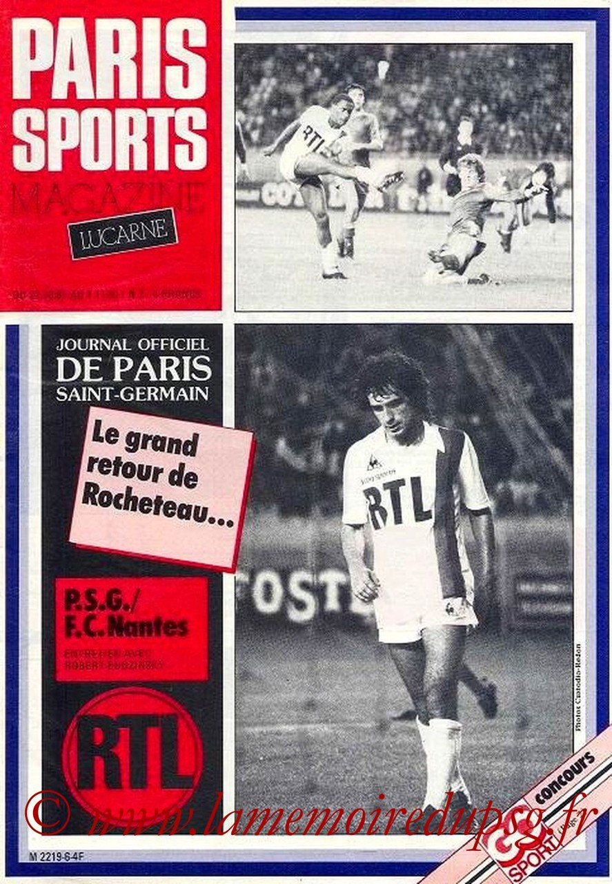 1981-10-27  PSG-Nantes (15ème D1, Paris Sports Magazine N°7)