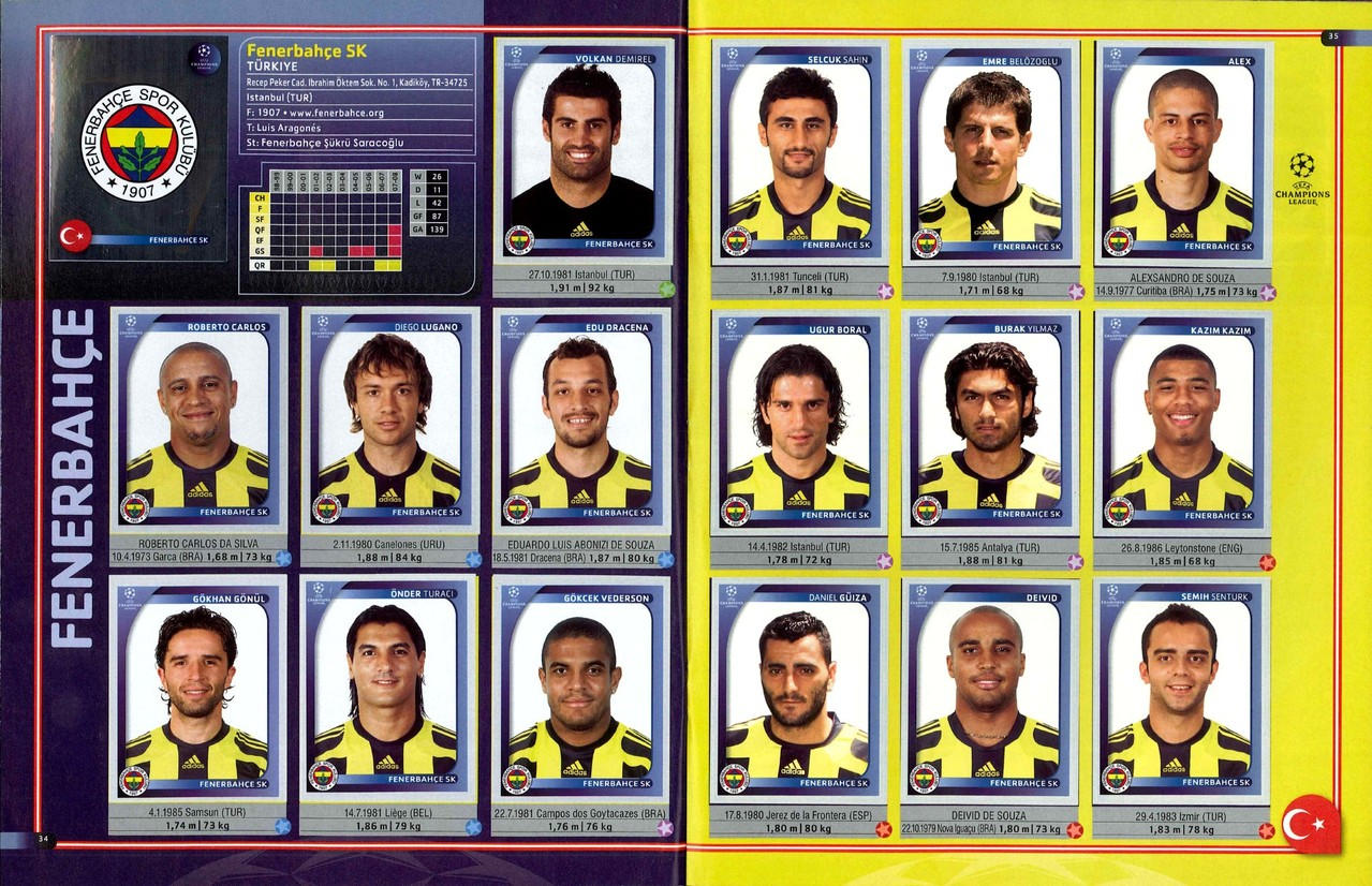 2008-09 - Panini Champions League - Pages 34 et 35 - Fenerbahce SK