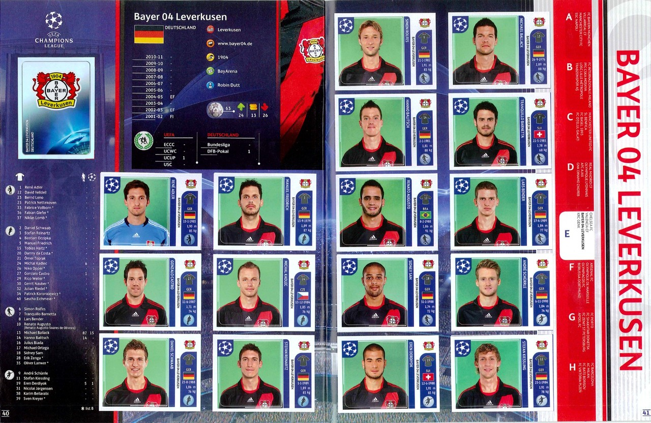 2011-12 - Panini Champions League - Pages 40 et 41 - Bayer Leverkusen