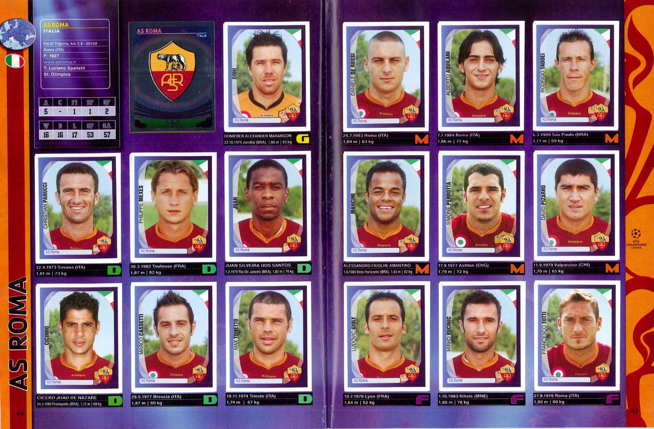 2007-08 - Panini Champions League - Pages 44 et 45 - AS Roma