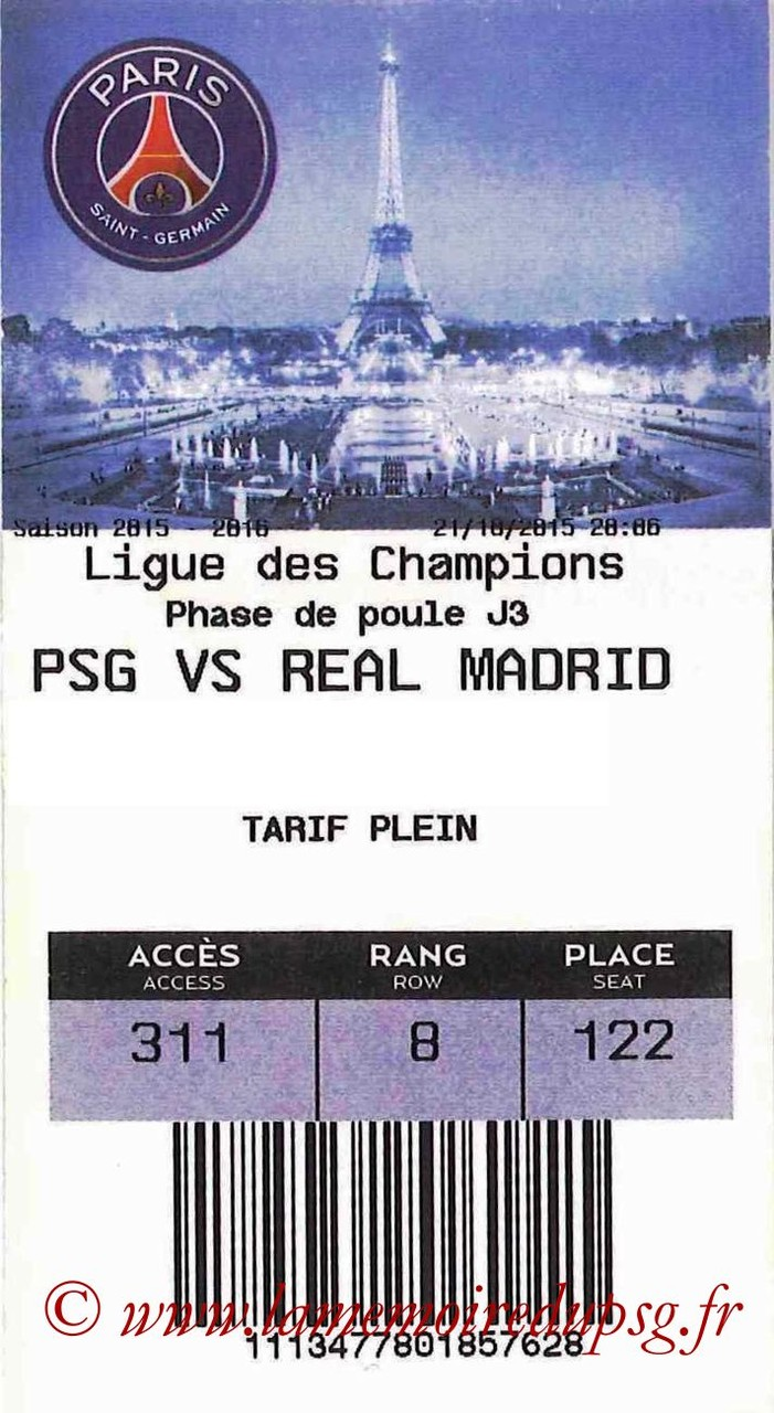 2015-10-21  PSG-Real Madrid (3ème C1, E-ticket bis)