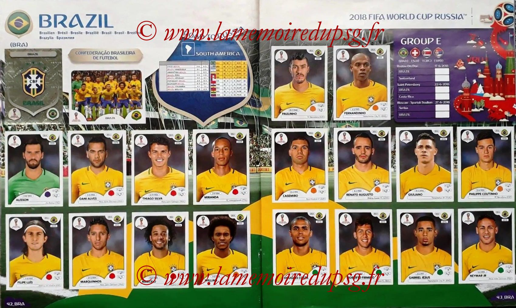 2018 - Panini FIFA World Cup Russia Stickers - Pages 42 et 43 - Bresil