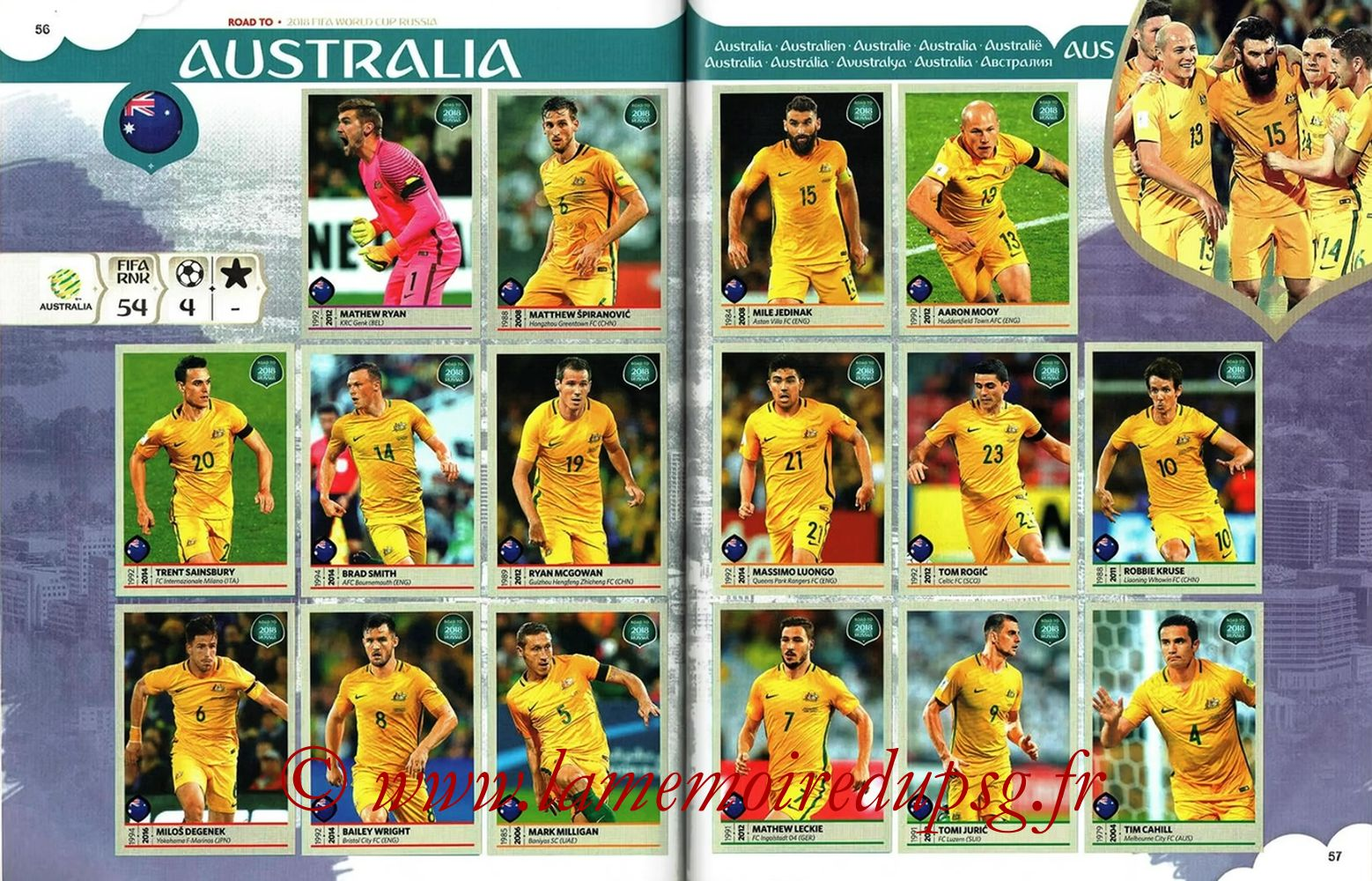 2018 - Panini Road to FIFA World Cup Russia Stickers - Pages 56 et 57 - Australie