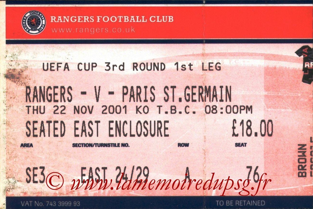 2001-11-22  Glasgow Rangers-PSG (16ème Finale Aller C3, bis)