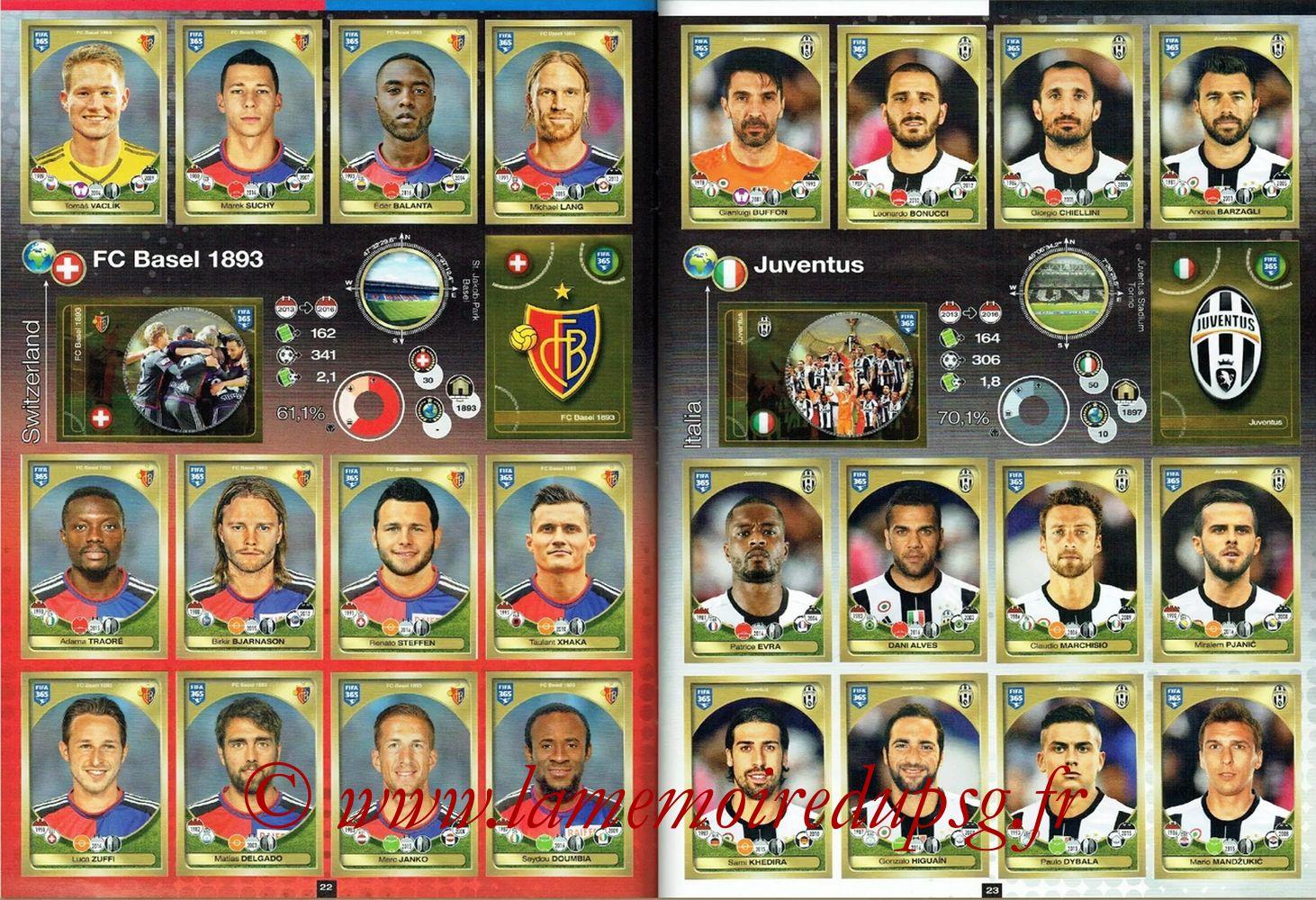 2016-17 - Panini FIFA 365 Stickers - Pages 22 et 23 - FC Bâle 1893 + Juventus FC