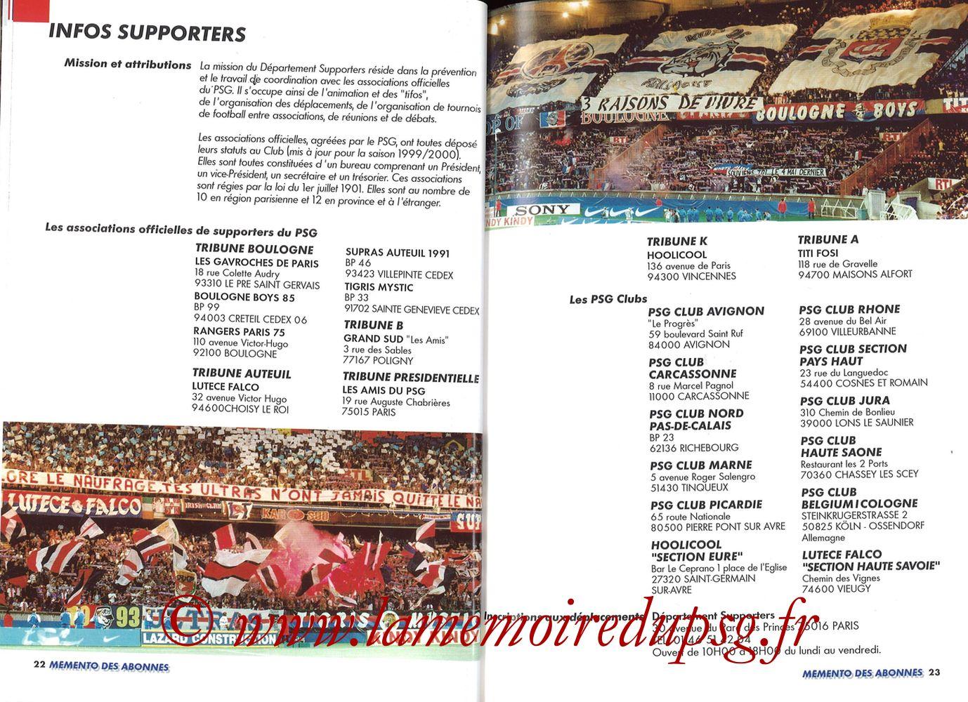 1999-00 - Guide de la Saison PSG - Pages 22 et 23