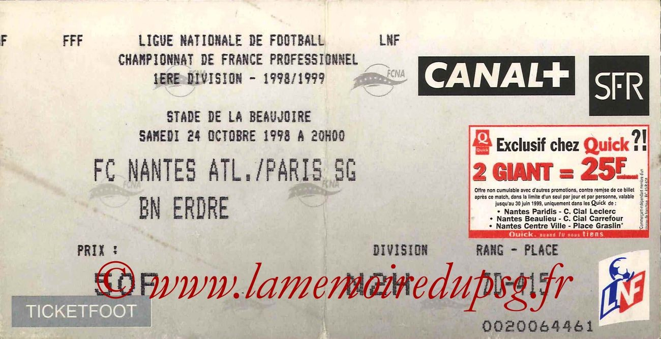 1998-10-24  Nantes-PSG (10ème D1, Ticketfoot)