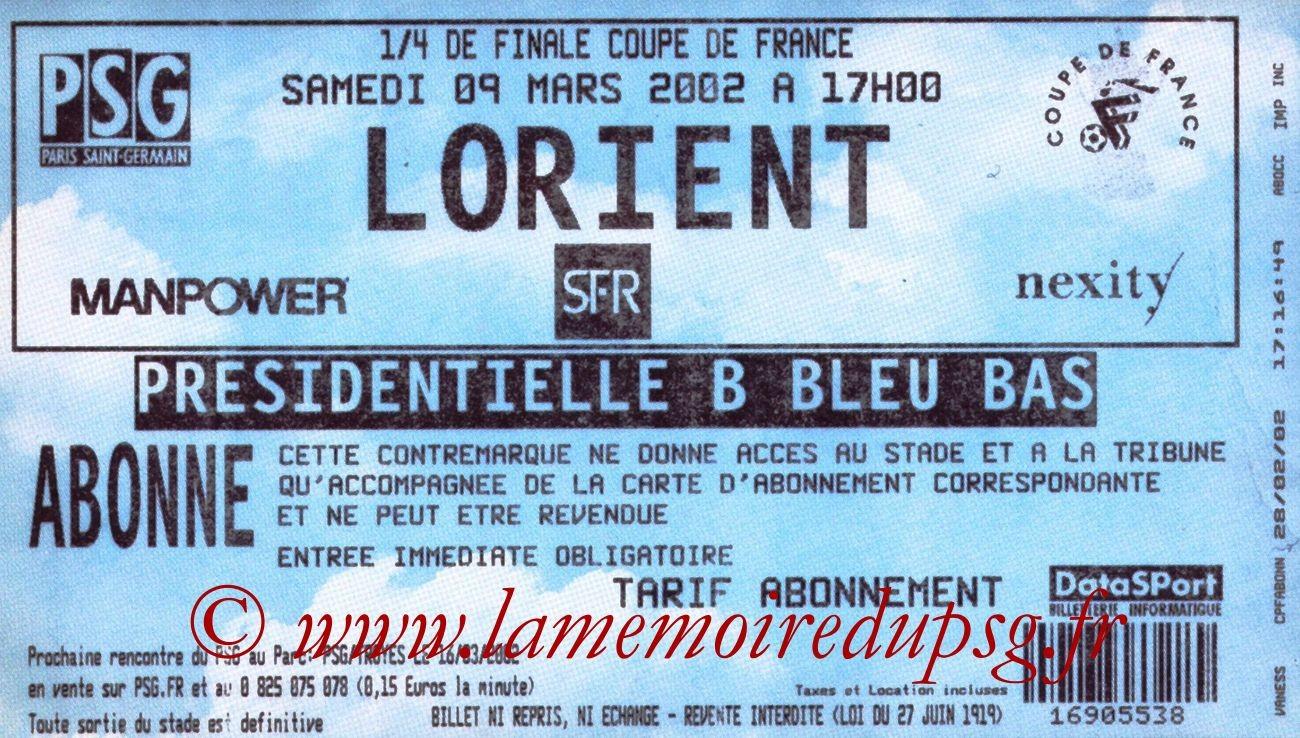 2002-03-09  PSG-Lorient (Quart Finale CF)