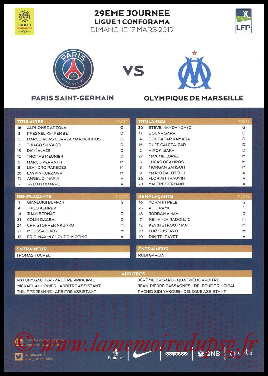 2019-03-17  PSG-Marseille (29ème L1, Feuile de match)
