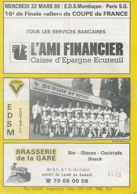 1989-03-22  Montluçon-PSG (16ème Finale Aller CF, Programme officiel)