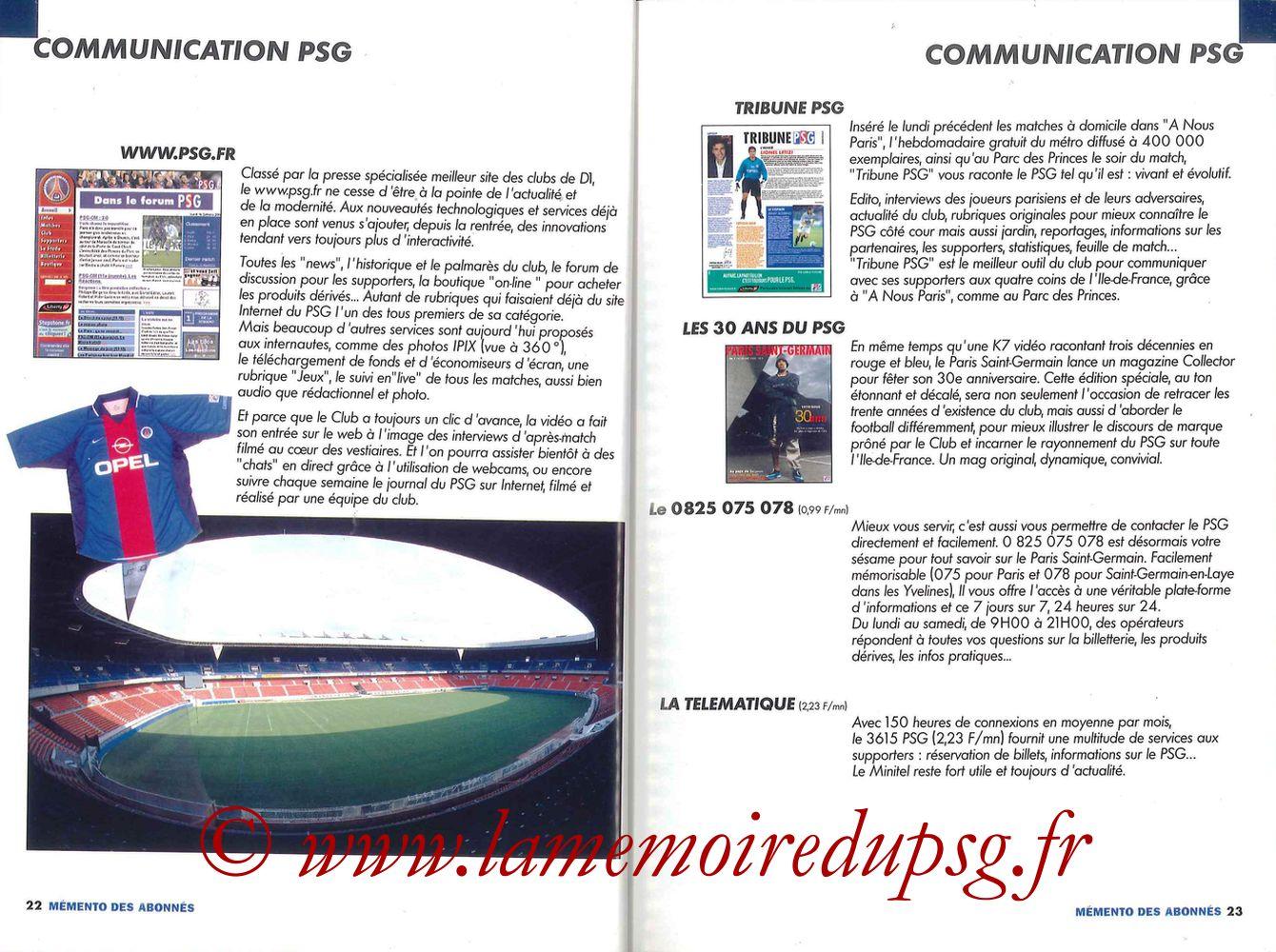 2000-01 - Guide de la Saison PSG - Pages 22 et 23