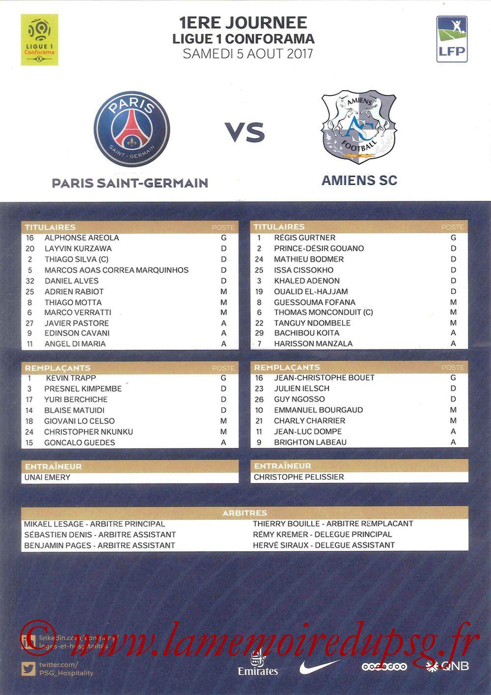 2017-08-05  PSG-Amiens (1ère L1, Feuille de match)