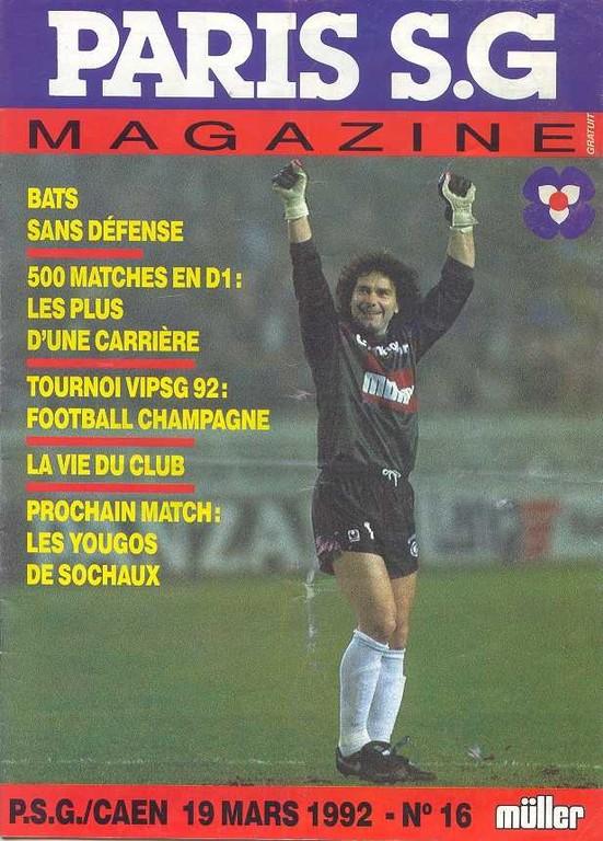 1992-03-19  PSG-Caen (32ème D1, Paris SG Magazine N°16)