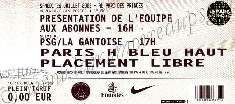 2008-07-26  PSG-La Gantoise (Amical au Parc des Princes)