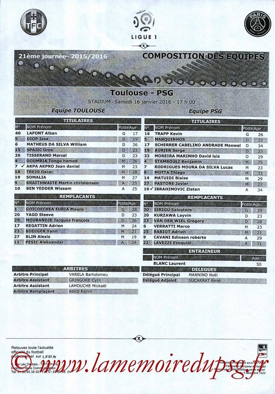 2016-01-16  Toulouse-PSG (21ème L1, Feuille de match)